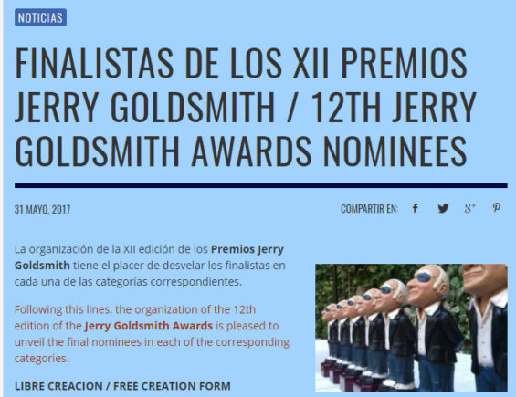 Horizon Music Nominated for Jerry Goldsmith Award